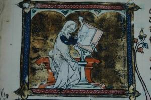 Marie de France écrivant ses fables