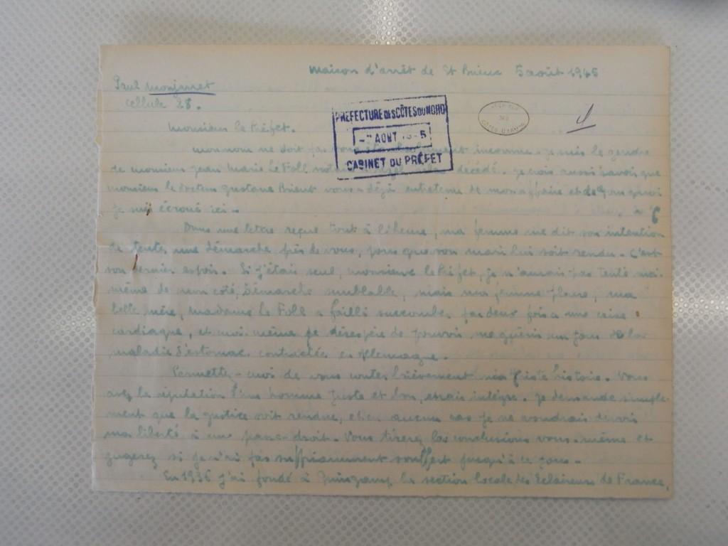 Monjarret lettre